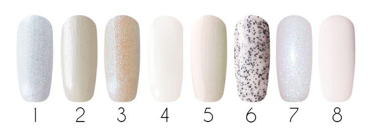 White Гель-лаки: 1- Irisk, гель-лак IRISGel цветной (#3), 15 мл 2- I'risk, гель-лак LacStyle цветной (#44), 15 мл 3- Kodi, гель-лак (#116), 7 мл 4- Entity One Color Couture, гель-лак (Close Up #6110), 15 мл 5- CND Shellac, гель-лак (Moonlight & Roses #028), 7,3 мл 6- Bluesky Shellac, гель-лак (Milky sweety 023), 15 мл 7- Bluesky Shellac, гель-лак (V16), 10 мл 8- Bluesky Shellac, гель-лак (Белая птица A92), 10 мл 9- Bluesky Shellac, гель-лак (Studio White 40526/80526), 10 мл