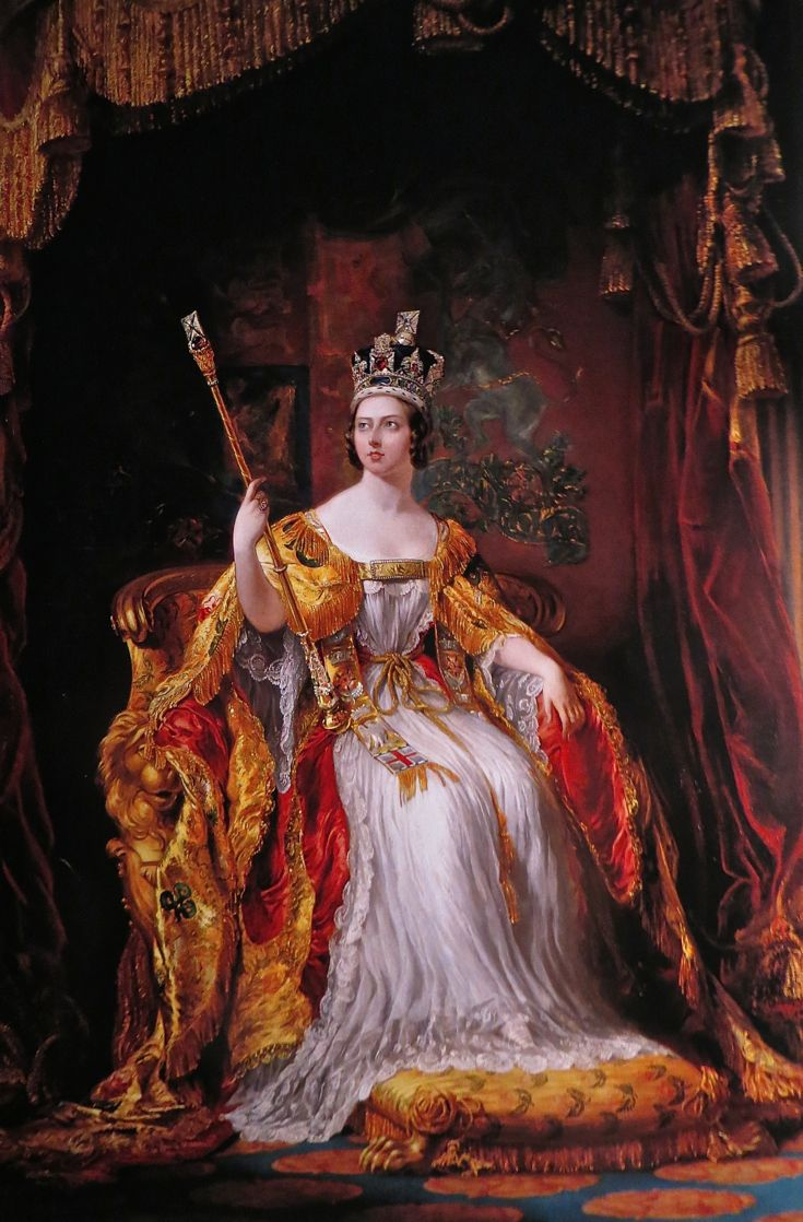 Queen Victoria Enthroned, 1838 by Sir George Hayter, Victoria in her coronation robes & wearing the Imperial State Crown remade for her use.