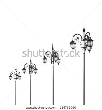 streetlights on white a background - stock photo