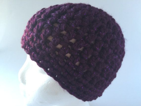 Child Size Sparkly Purple Chunky Beanie by hunnibeecrafts on Etsy