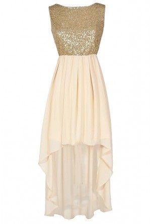 Gilded Angel Gold and Ivory Sequin Chiffon High Low Dress