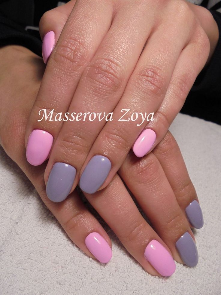 Grey and pink nails, May nails, Spring nail art, Spring nail ideas, Spring summer nails, Two color spring nails, Two-color nails ideas