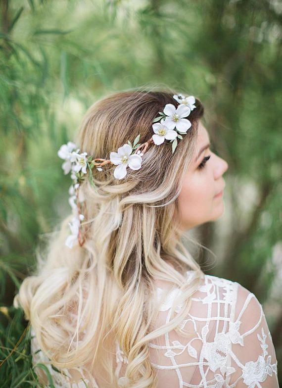 Dogwood Bride Floral Crown Head Wreath Flower Girl Wedding Ivory Bridesmaid