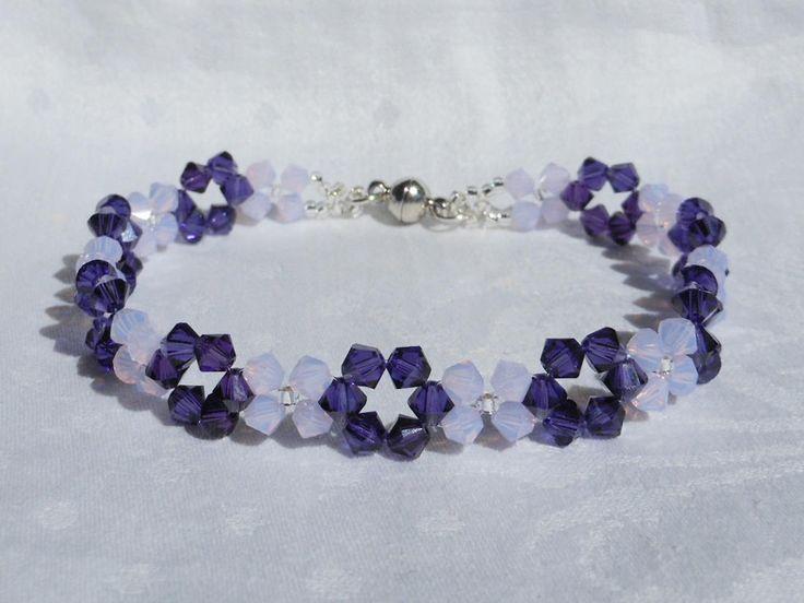 Purple Velvet/Violet Opal Swarovski Crystal Bracelet,Woven Bracelet,Weaving Bracelet,Crystal Bracelet,Purple Bracelet,Violet Opal bracelet. by akcrystalbead on Etsy