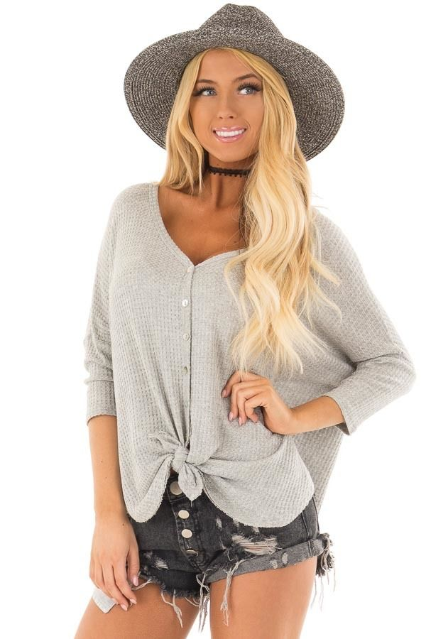 c0d8cdbb240 Lime Lush Boutique - Heather Grey Waffle Knit Button Up Top with Front Tie  Detail,