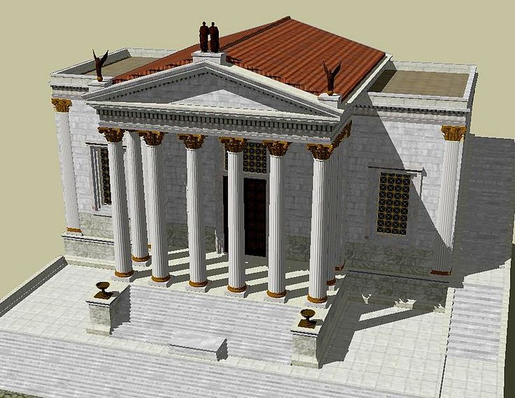 The Temple of Concord in the ancient city of Rome was a temple dedicated to the Roman goddess Concordia at the western end of the Roman Forum. The temple was vowed in 367 BC by Marcus Furius Camillus, but was not actually built until 167 BC. It was destroyed and restored multiple times in its history, and its final restoration, between 7-10 AD under Roman Emperor Tiberius, is described in Pliny the Elder's Natural History. In approximately 1450 AD the temple was razed.