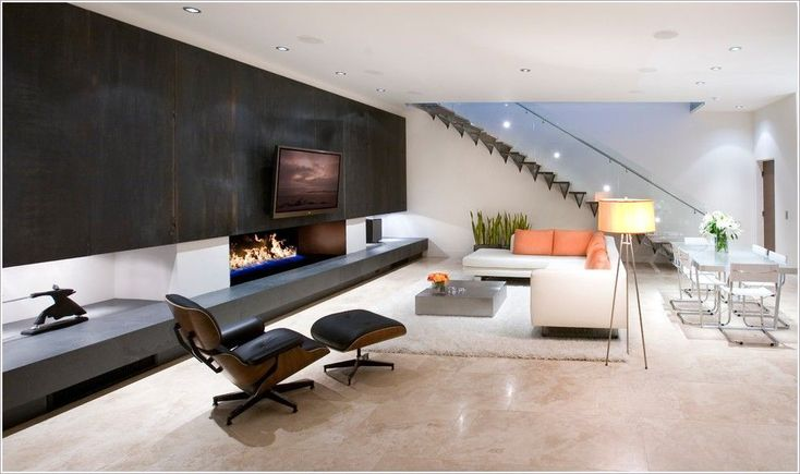 Magnificent Modern Basement Stairs Ideas With Floating Stairs Floor Lamp Glass Dining Table Glass Railing Linear Fireplace Open Concept Open Floor Plan Open Staircase Orange Cushions Recessed Lighting Tile Floor Tv