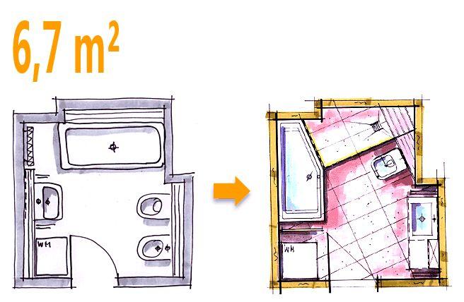 Badplanung Beispiel 6,7 qm Zusätzlich eine Dusche durch bessere Raumnutzung