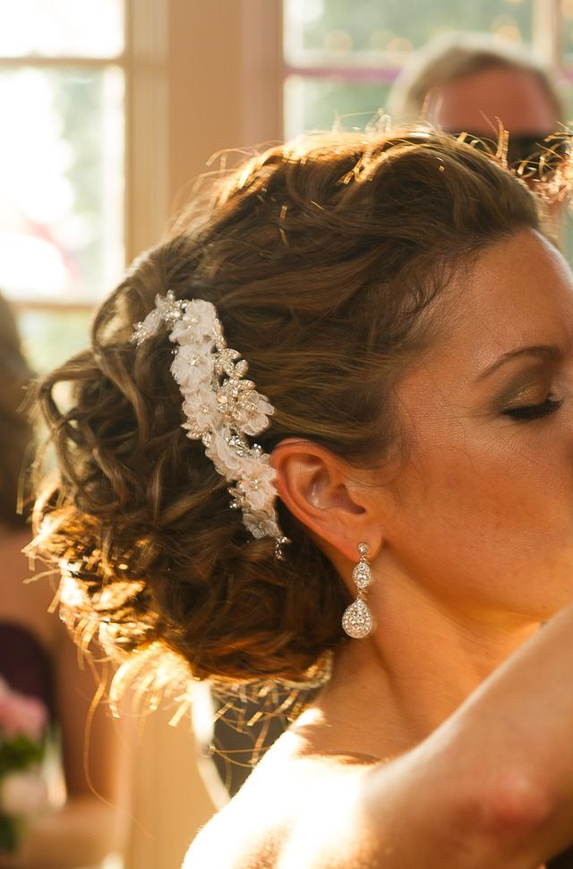 Wedding hair, updo, loose curls, side do, hair piece