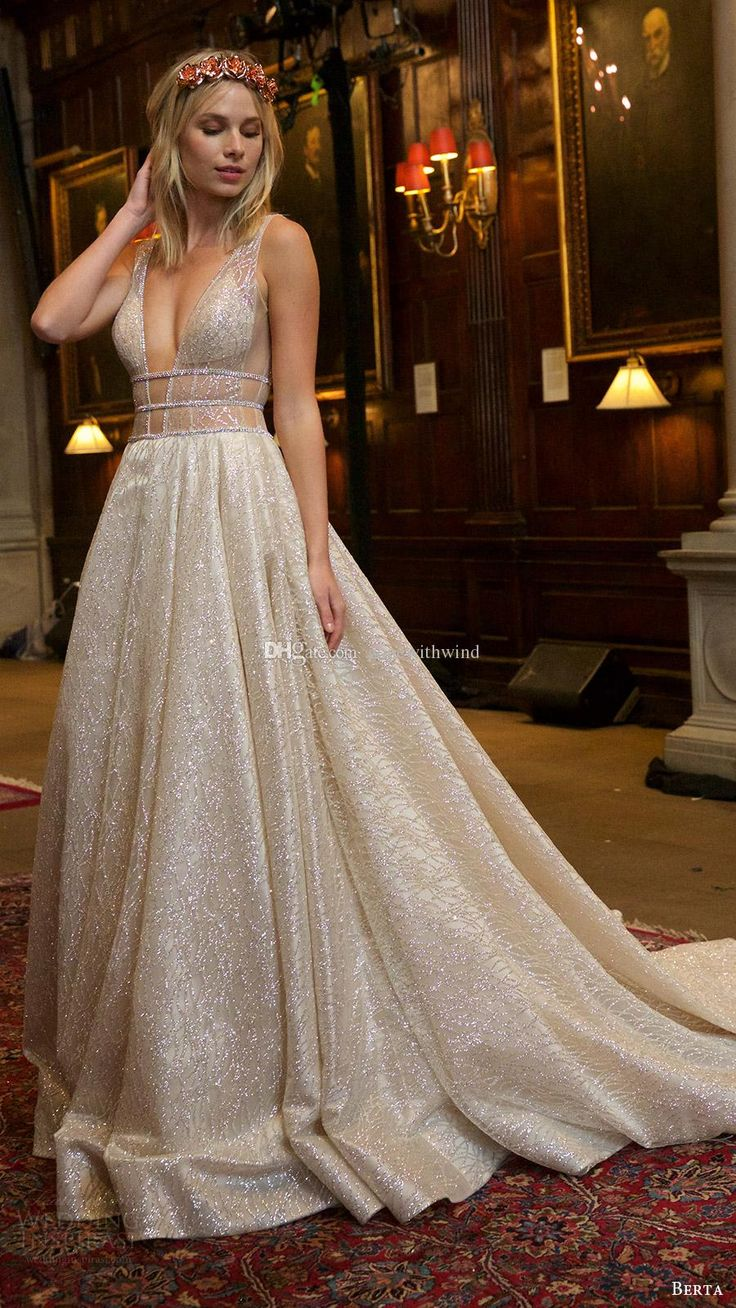 2016 Berta Wedding Dresses Lace Beaded Bridal Gowns Deep V Neckline Sleeveless Straps Ball Gown…