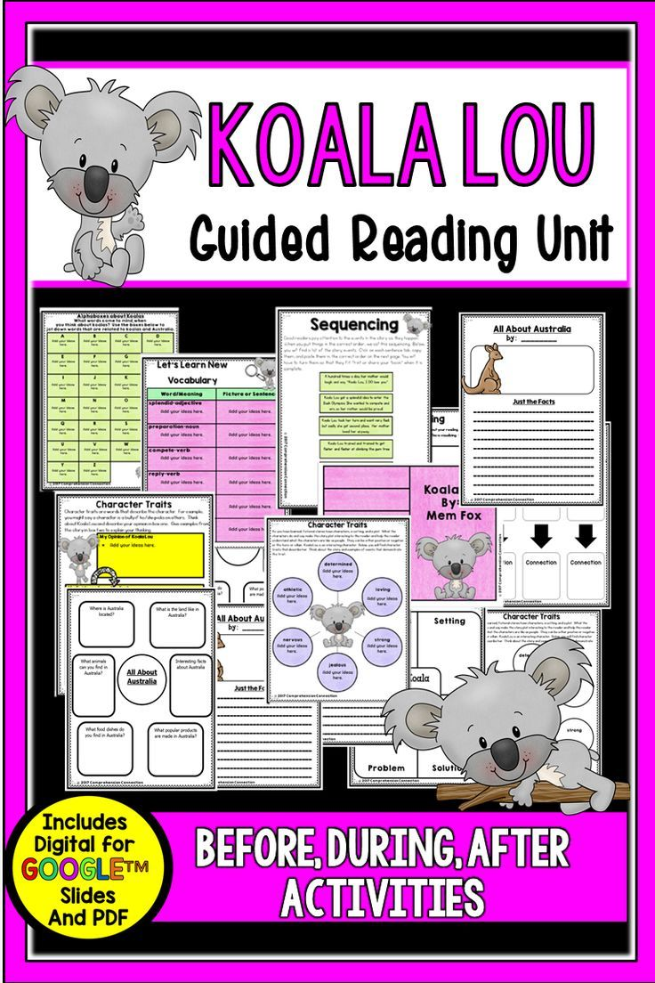 Koala Lou is a sweet book, and this *newly updated unit now comes in digital for Google Slides TM and pdf formats. It is perfect for small group and paired reading. It includes choices for before, during, after reading that students can complete via an iPad or Laptop or with a printable. Activity options are: schema building about koalas (alphaboxes), vocabulary, sequencing, story elements, character traits, making connections, visualizing, research about koalas and Australia, and writing.
