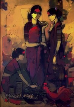 """Fabulous acrylic work available on IndianArtCollectors.com! """"Three Women _68561"""" by Sachin Sagare See more artworks by Sachin Sagare at: http://www.indianartcollectors.com/artist/SachinSagare"""