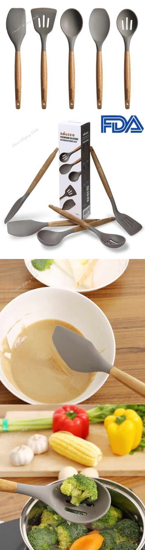 Cooking Utensils 20649: 5 Piece Silicone Cooking Utensil Set With Natura Wood Handle Kitchen Utensils -> BUY IT NOW ONLY: $31.36 on eBay!