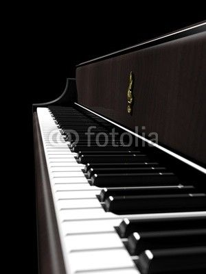 Dark brown piano, keys closeup side view