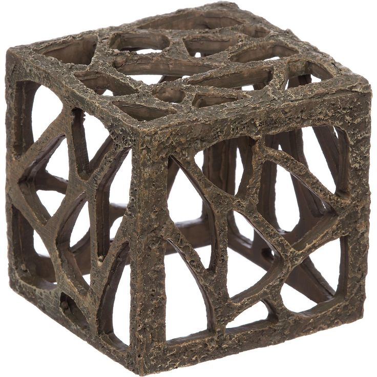 """Petco Rustic Cube Aquarium Ornament - 4""""; Diameter, A fun, rustic tower that will add depth to your aquarium. Features plenty of fun cut-outs for your fish to swim in, around and through. Reduces stress and boredom for your fish. Easy to clean, fish-safe poly-resin. - http://www.petco.com/shop/en/petcostore/petco-rustic-cube-aquarium-ornament"""