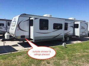 Jayco travel trailer outside shower location