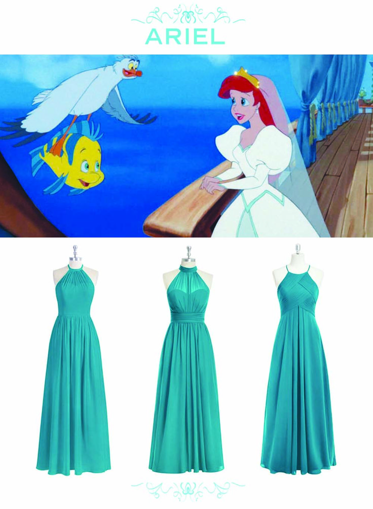 6 Bridesmaid Sets Inspired By Disney Weddings | The Little Mermaid + Ariel inspired mix and match teal bridesmaids dresses | [ http://di.sn/6000BfnIK ]