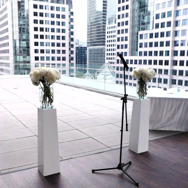 The outdoor tented ceremony area, 6 floors up at Malaparte