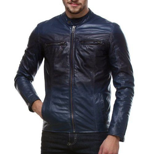 #Bareskin #men's three -toned #shade #black-blue slim-fit #leather #jacket