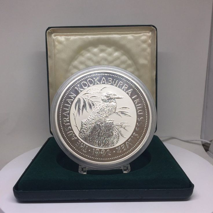 1992 Australia 1 kilo $30 .999 Silver Bullion Coin Kookaburra with Original Box