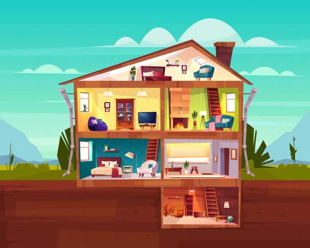 Download Two Storey Cottage House Cross Section Interior Cartoon Vector With Spacious Hall For Free Cartoons Vector Room Planning Cottage Homes