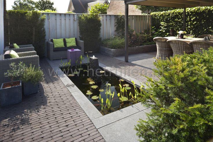 Tuinontwerp tuinaanleg patiotuin kleine tuin eindhoven helmond strakke vijver overdekt terras - Tuinontwerp ...