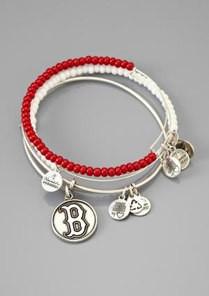 ALEX & ANI Boston Red Sox Set of 3 Charm Bracelet