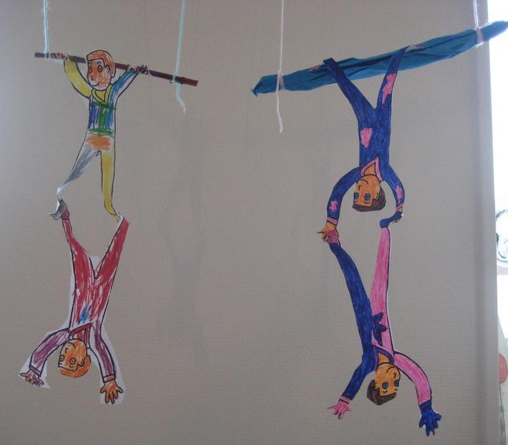Acrobaten aan de trapeze