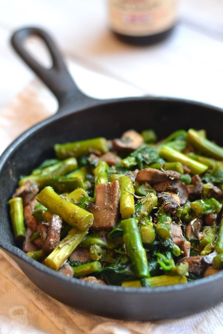 This quick and simple side dish combines asparagus, spinach, and mushrooms, and pairs perfectly with any meal.