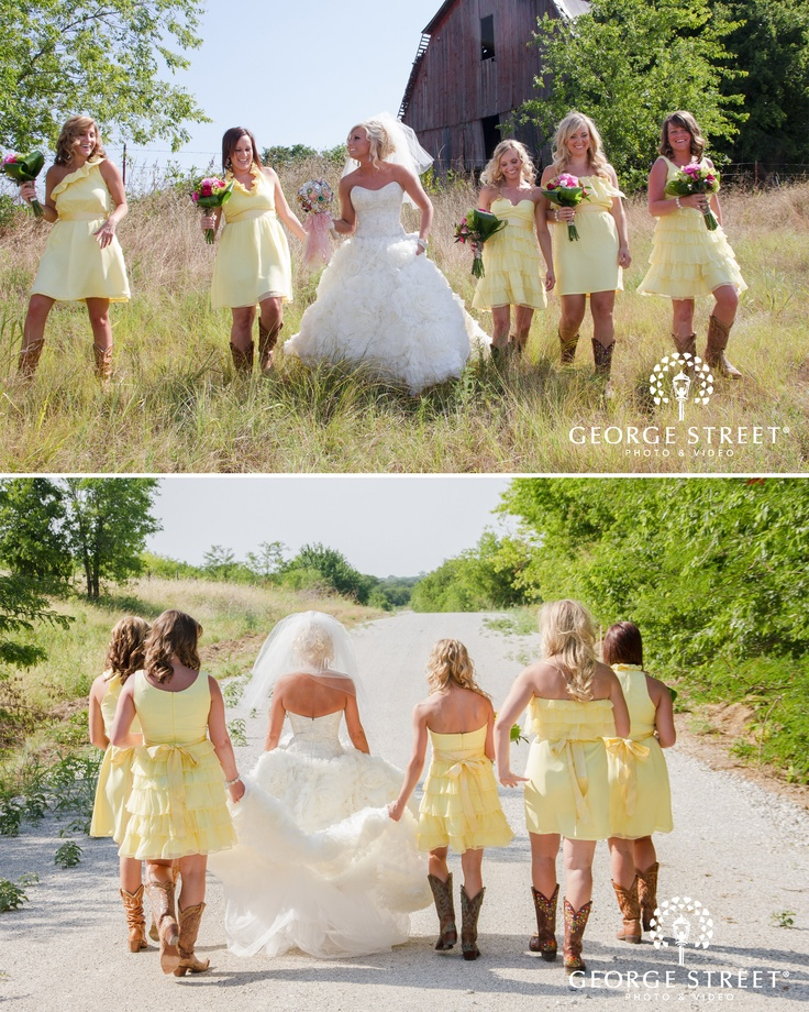 I LOVE THIS! #DREAMWEDDING adoring these country girls and their boots | www.georgestreetphoto.com