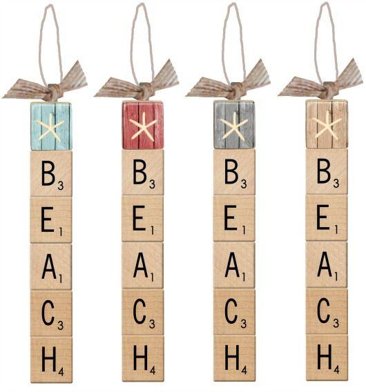 Scrabble Tile Beach Ornaments