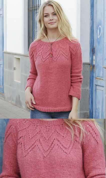 ea3ea664d936f Aftensol Round Lace Yoke Sweater Free Knitting Pattern Download. Ladies  sweater with chevron lace yoke feature.