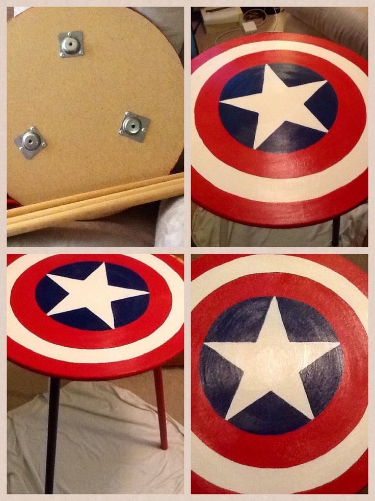 Marvel Room Makeover! Created a Captain America nightstand by painting a cheap round side table. This could also be done as a baseball.