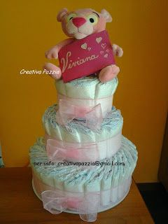 torta di pannolini con pantera rosa per  una splendida bimba