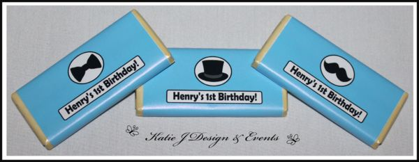 Little Man Moustache Bow Tie Top Hat Personalised Birthday Party Decorations Supplies Packs Shop Online Australia Banners Bunting Wall Display Cupcake Toppers Chocolate Wrappers Juice Water Pop Top Labels Posters Lanterns Invites Cup Stickers Ideas Inspiration Cake Table Katie J Design and Events First 1st Birthday Baby Shower