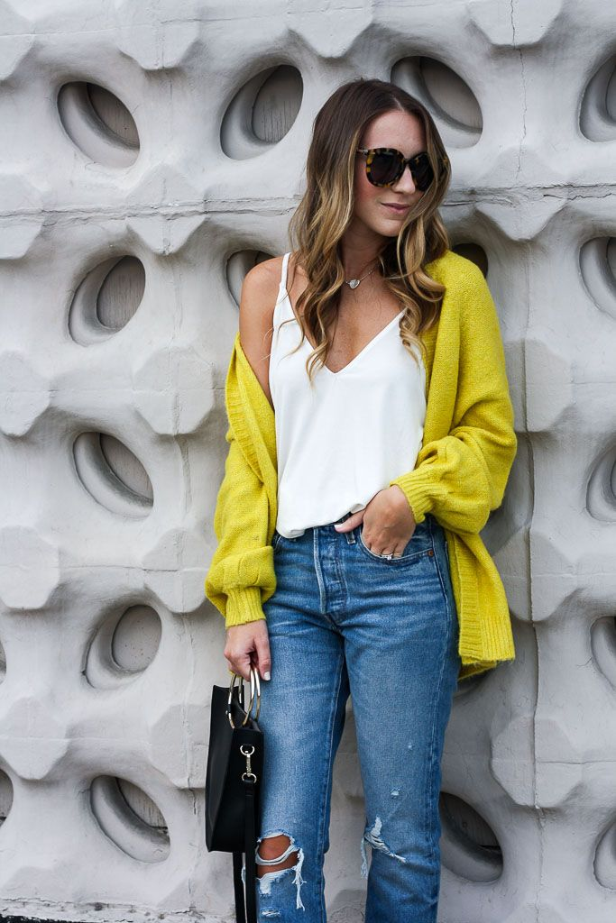 Yellow Cardigan and the Perfect Sunnies - Twenties Girl Style  yellow cardigan / levis jeans / casual outfit idea / ASOS cardigan
