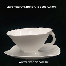 Artistic tableware. The Le Forge Blanc Porcelain tea cup isn't only functional art but a great talking piece.  From Le forge Furniture And Decration Sydney