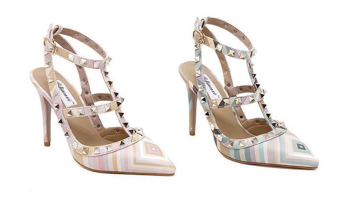 Beautiful Design T-Strap Rivet Ankle Heels