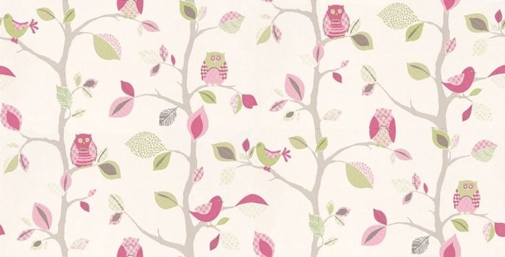 Owls (8563-19) - Albany Wallpapers - Pretty hand drawn branches with owls and leaves covered in different patterns, showing in pink and green on a cream background. Please request a sample for true colour match.