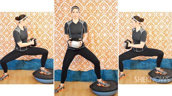 Wide legged bosu squat with a twist