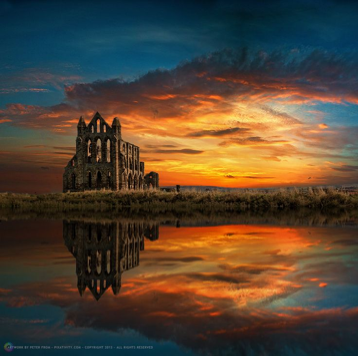 Ruins of Whitby Abbey, Yorkshire... something just so peacefull and gorgeous about ruins. just to immagine it back in its hey day. what it looked like. if anyone important lived there.