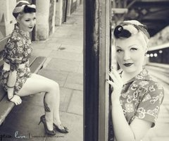 50's rockabilly. pinup black and white