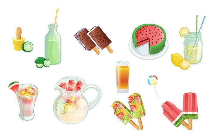 Summer Snacks Vector Pack #fruirts #summer #lemonade #orange #watermelon http://www.vectorvice.com/summer-snacks-pack
