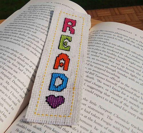 Cross Stitch Bookmark. Read!