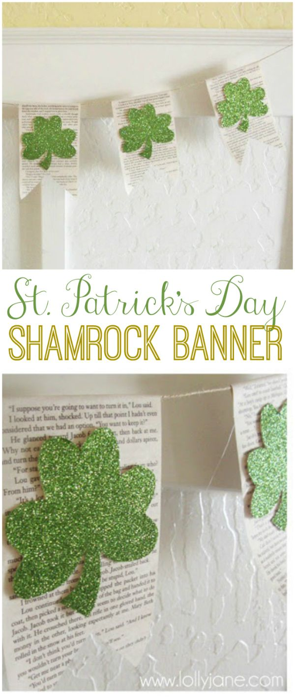 Really easy book page glitter shamrock banner, perfect for St Patrick's Day decor! |via LollyJane.com #stpatricksday #banner