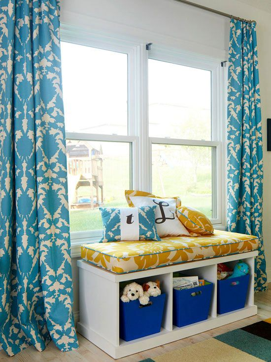Love this cute storage bench turned window seat! Such a great place to stash toys and books while keeping them accessible!