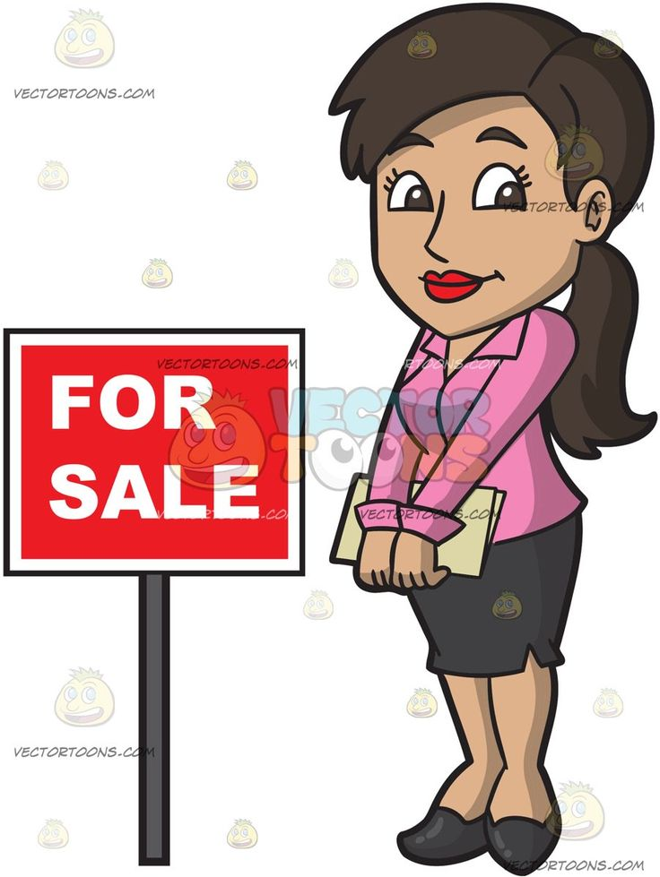 A Shy Female Real Estate Agent:   A woman with brown black hair wearing a pink blouse black skirt and shoes smiles while holding several documents in her hands as she stands beside a red for sale sign