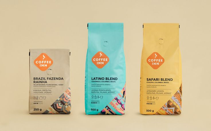 Coffee Inn: packaging for single origin and blended coffee / by étiquette (creative agency), Valerija Žilėnienė, Algirdas Orantas, Irmantas Savulionis (packaging design), Elena Mayagrafik (illustrations) / #packaging #packagingdesign