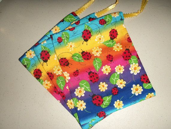 Ladybug Gift Bags  Set of Three by faeriegood on Etsy,