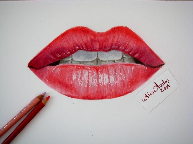 Tutorial: Cómo dibujar labios, boca con lápices de colores / Labios real...